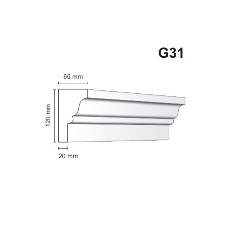 Gzyms elewacyjny G31 65x120 mm